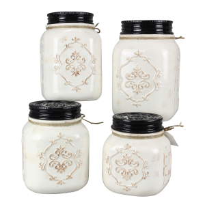 Ceramic 4 Piece Country Canister Set